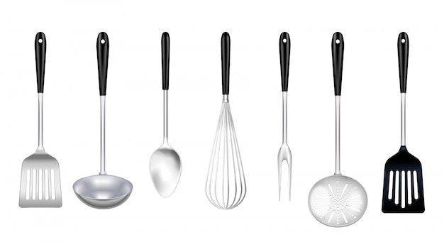 De hulpmiddelen realistische reeks van het keukenroestvrije staal met het koken van de gietlepelschotel van de vork ingelaste keerder zwaait geïsoleerd