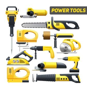 De hulpmiddelen vlakke die pictogrammen van de elektrische hulpmiddelenbouwvakker in zwart en geel worden geplaatst