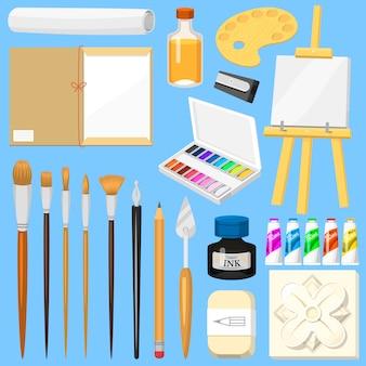 De hulpmiddelenwaterverf van de kunstenaar met penselenpalet en het canvas van kleurenverven voor kunstwerk in artistieke het schilderen van de kunststudio reeks