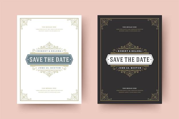 De huwelijksuitnodiging bewaart de datumkaartsjabloon bloeit ornamenten vignetwervelingen