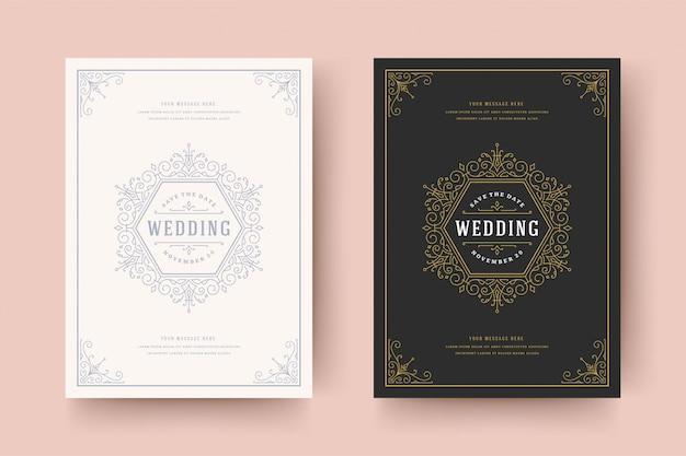 De huwelijksuitnodiging bewaart de gouden datumkaart bloeit de wervelingen van het ornamentenvignet. uitstekend victorian kader en decoratie.