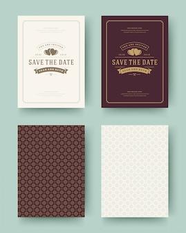 De huwelijksuitnodiging bewaart het vintage typografische het malplaatjeontwerp van datumkaarten