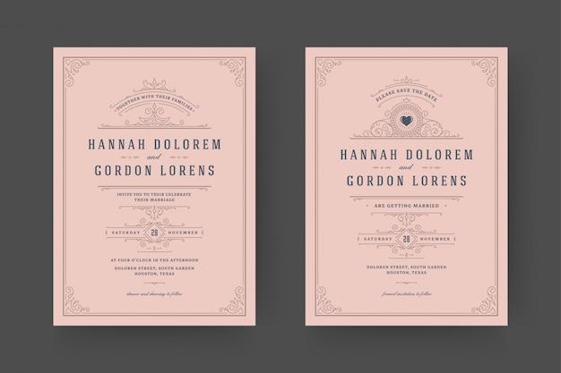 De huwelijksuitnodiging en bewaar de datumkaarten bloeit ornamentenvignetwervelingen.