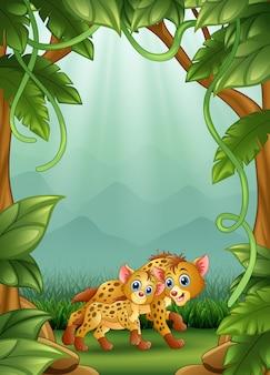 De hyena is blij met een activiteit in de jungle
