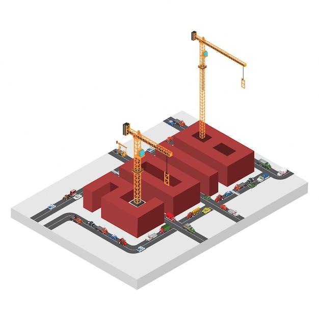 De iaometrische bouw gele kraan bouwt 2018