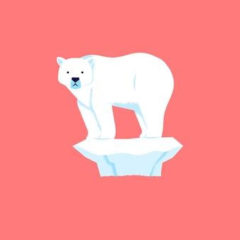 De ijsbeer staat op en kijkt droevig omdat het ijs smelt