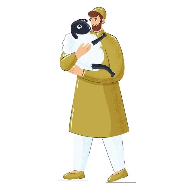 De illustratie die van de moslimmens een schaap in status houden stelt.