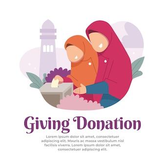 De illustratie nodigt kinderen uit om donaties te doen in de maand ramadan