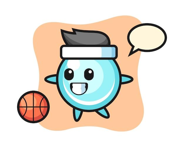 De illustratie van bellenbeeldverhaal speelt basketbal, leuk stijlontwerp