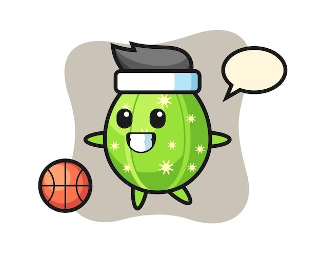 De illustratie van cactusbeeldverhaal speelt basketbal