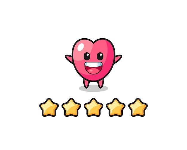 De illustratie van de beste beoordeling van de klant, hartsymbool schattig karakter met 5 sterren, schattig stijlontwerp voor t-shirt, sticker, logo-element