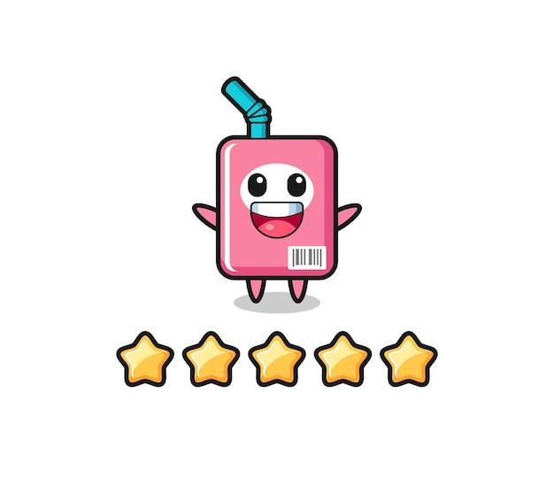 De illustratie van de beste beoordeling van de klant, melkdoos schattig karakter met 5 sterren, schattig stijlontwerp voor t-shirt, sticker, logo-element