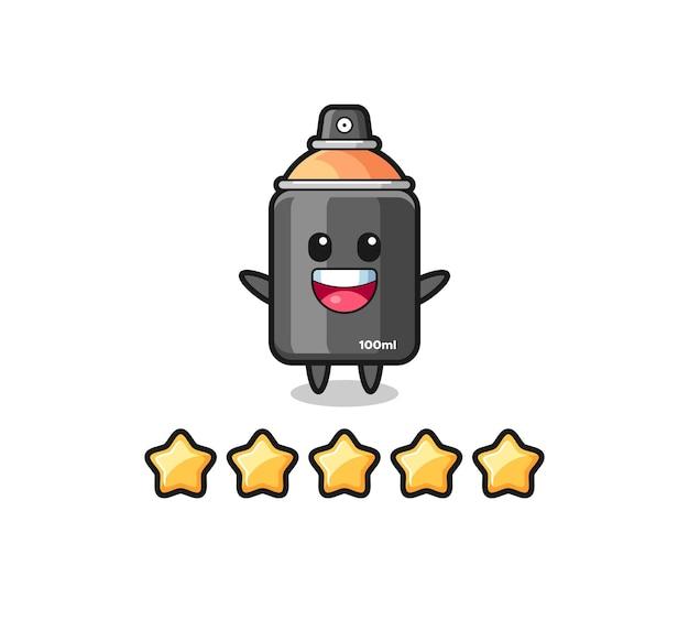 De illustratie van de beste beoordeling van de klant, spuitverf schattig karakter met 5 sterren, schattig stijlontwerp voor t-shirt, sticker, logo-element
