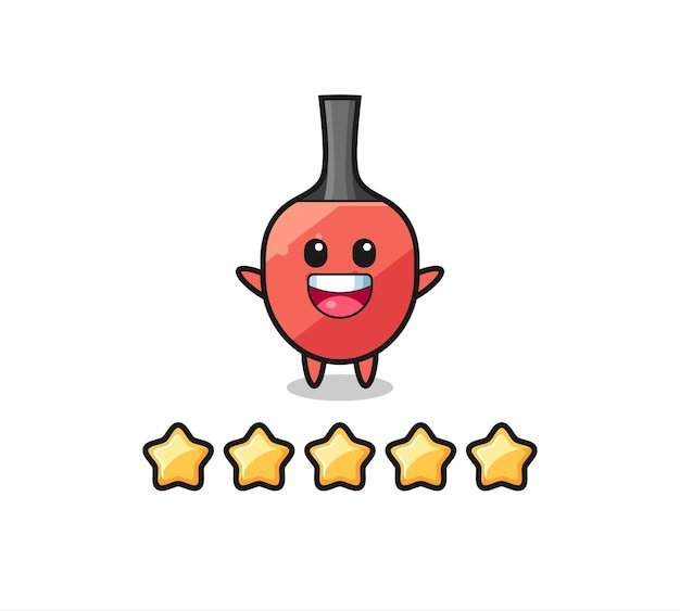 De illustratie van de beste beoordeling van de klant, tafeltennisracket schattig karakter met 5 sterren, schattig stijlontwerp voor t-shirt, sticker, logo-element
