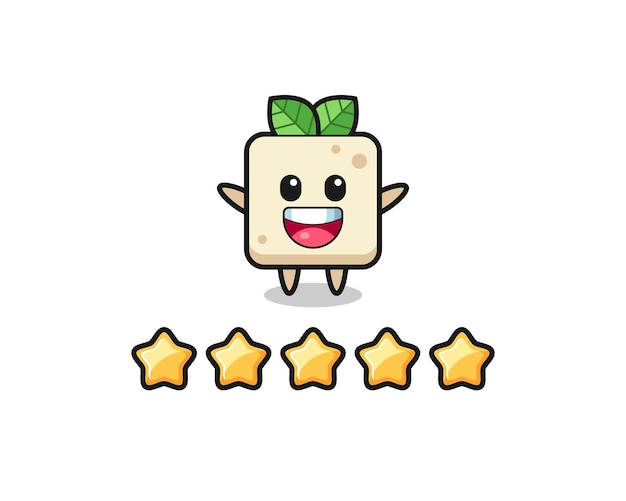 De illustratie van de beste beoordeling van de klant, tofu schattig karakter met 5 sterren, schattig stijlontwerp voor t-shirt, sticker, logo-element