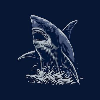 De illustratie van de blauwe haaiaanval