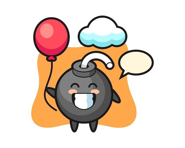 De illustratie van de bommascotte speelt ballon