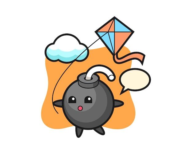 De illustratie van de bommascotte speelt vlieger