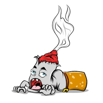 De illustratie van de brandende sigaret die kruipt omdat hij het vuur in zijn hoofd beu is