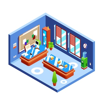 De illustratie van de bureauruimte van moderne ruimte van werkgever of presentatie in dwarsdoorsnede