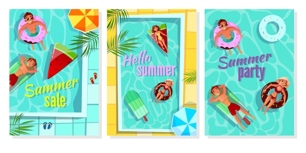 De illustratie van de de zomerpool voor de affiche van de winkelverkoop, partijuitnodiging en hello-de zomergroet