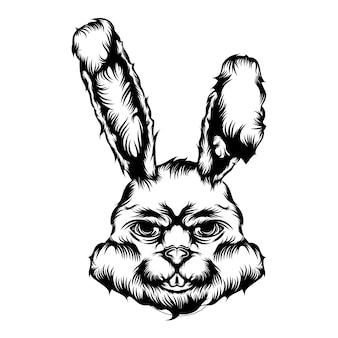 De illustratie van de dierlijke tatoeage glimlach schrikt konijn