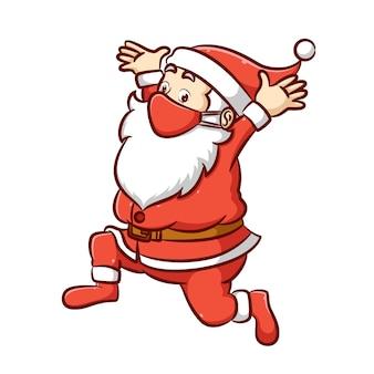 De illustratie van de dikke kerstman met de lange witte baard loopt met de geschokte uitdrukking op zijn gezicht