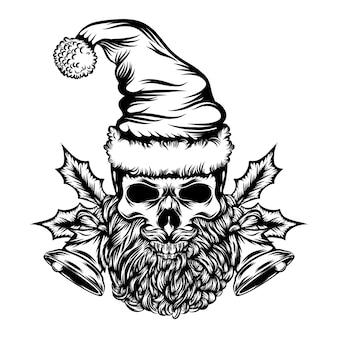 De illustratie van de dode schedel met de kerstbel voor de ideeën voor tatoeages