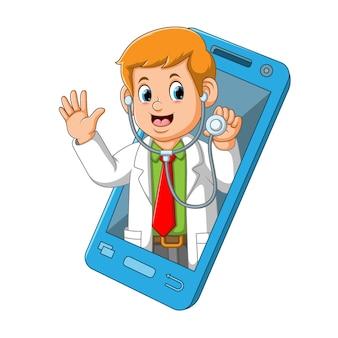 De illustratie van de dokter met zijn stethoscoop kwam uit de mobiele smartphone