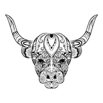 De illustratie van de doodle-kunst van de zentangle-stier vol met het bloemenornament