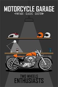 De illustratie van de garage van de motorfiets