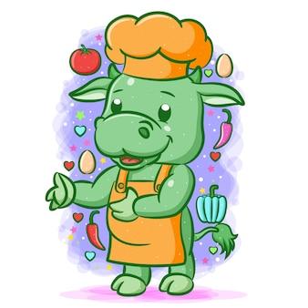 De illustratie van de groene chef-kokkoe met de groenten om hem heen