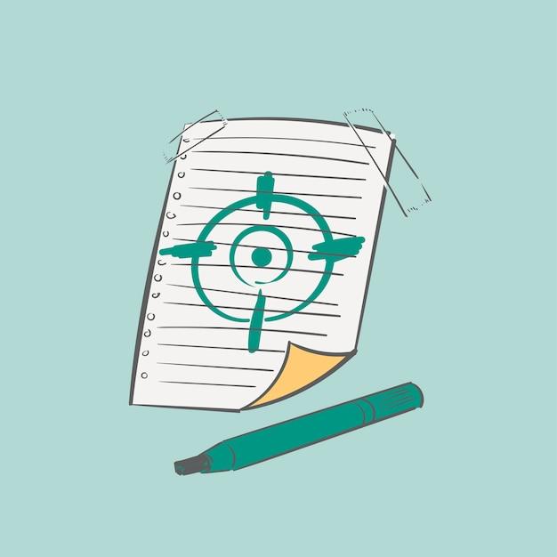 De illustratie van de handtekening van het concept van het doelstellingendoel