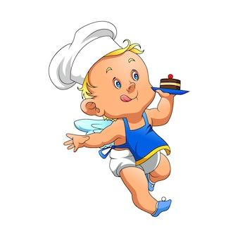 De illustratie van de hoekbaby met de chef-kokhoed en het vasthouden van een kleine cake met de kers