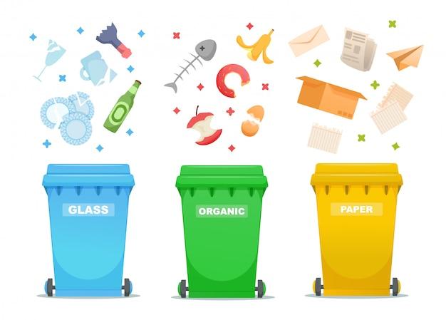 De illustratie van de huisvuilindustrie sorteren en verwerken