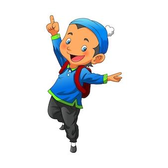 De illustratie van de jongen die de moslimoutfit met de hoed gebruikt en een rode tas meebrengt