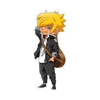 De illustratie van de jongen met het gele haar en het gebruik van het zwarte jasje voor anime-inspiratie