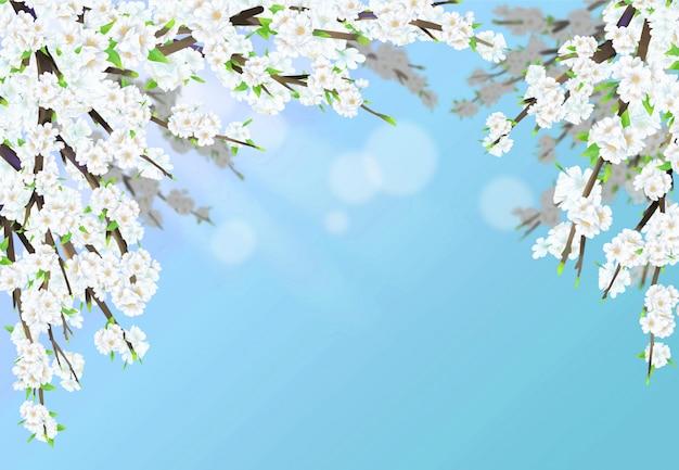 De illustratie van de kersenbloesem in volledige bloei met zonneschijn en hemelblauwe achtergrond.
