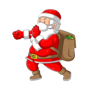 De illustratie van de kerstman die de grote zak met cadeau brengt