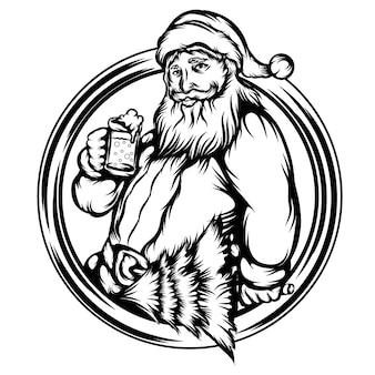 De illustratie van de kerstman houdt het drankje in het frame