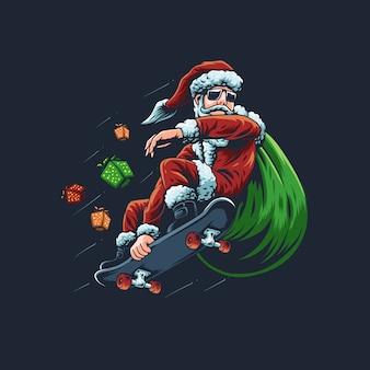 De illustratie van de kerstman met een skateboard