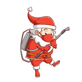 De illustratie van de kerstman met het rode masker houdt het spuitpistool van het ontsmettingsmiddel vast om het virus te doden