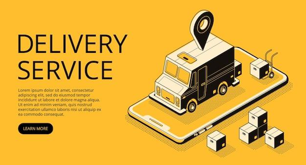 De illustratie van de leveringsdienst van ladervrachtwagen en pakketdozen bij pakhuis.