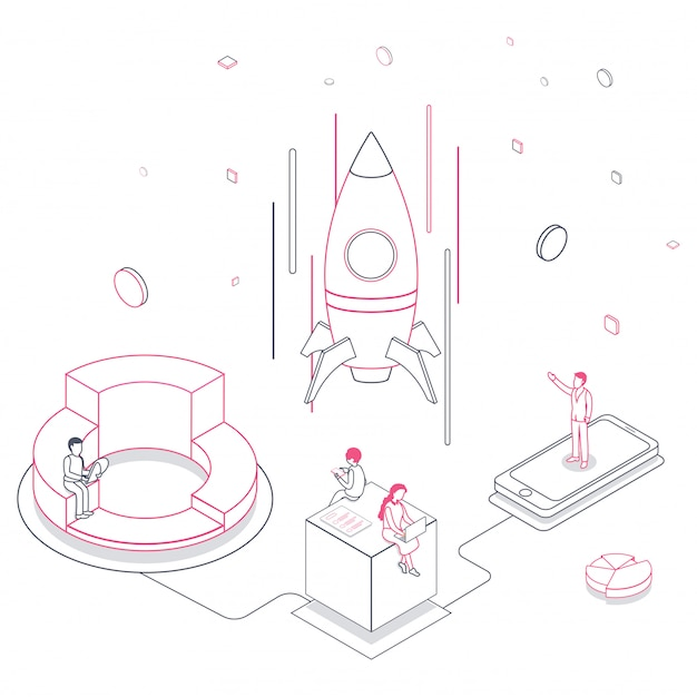 De illustratie van de lijnkunst van bedrijfsmensen die een succesvolle raket met laptop, smartphone en elementen op wit lanceren