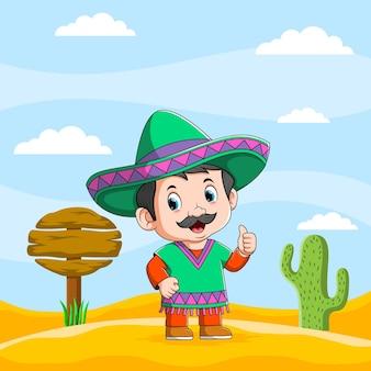 De illustratie van de mexicaanse mannen die zich dichtbij het verkeersbord in de woestijn bevinden