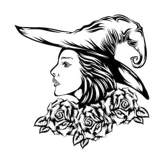 De illustratie van de mooie vrouw die de heksenhoed in de bloemenkroon gebruikt