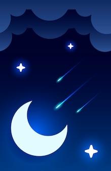 De illustratie van de nachthemel met halve maan, wolken en sterren