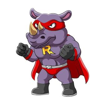De illustratie van de neushoorn met het serieuze gezicht in superheldenkostuum
