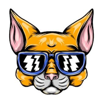 De illustratie van de ondeugende gele kat met de blauwe zonnebril voor de mascotte-inspiratie