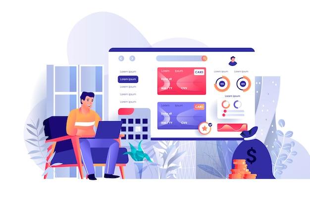 De illustratie van de online bankwezencène van personenkarakters in vlak ontwerpconcept